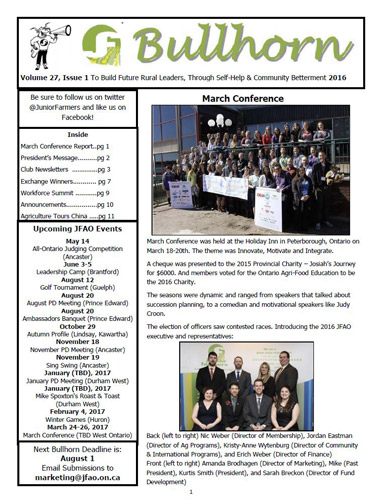 Bullhorn Vol 27 Issue 1 – 2016